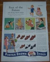 1941 Buster Brown Shoes Life Magazine Color Advertisement Feet of the Furture