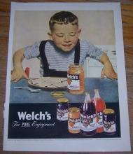1947 Welch's Life Magazine Color Advertisement For Pure Enjoyment