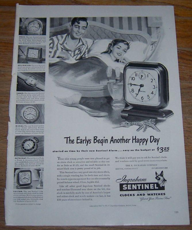 1947 Ingraham Sentinel Clocks and Watches Life Magazine Advertisement