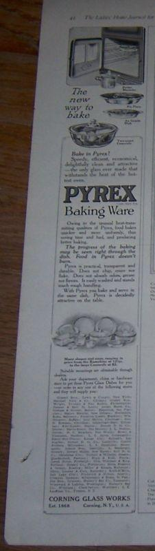 1916 Ladies Home Journal Pyrex Baking Ware Magazine Advertisement