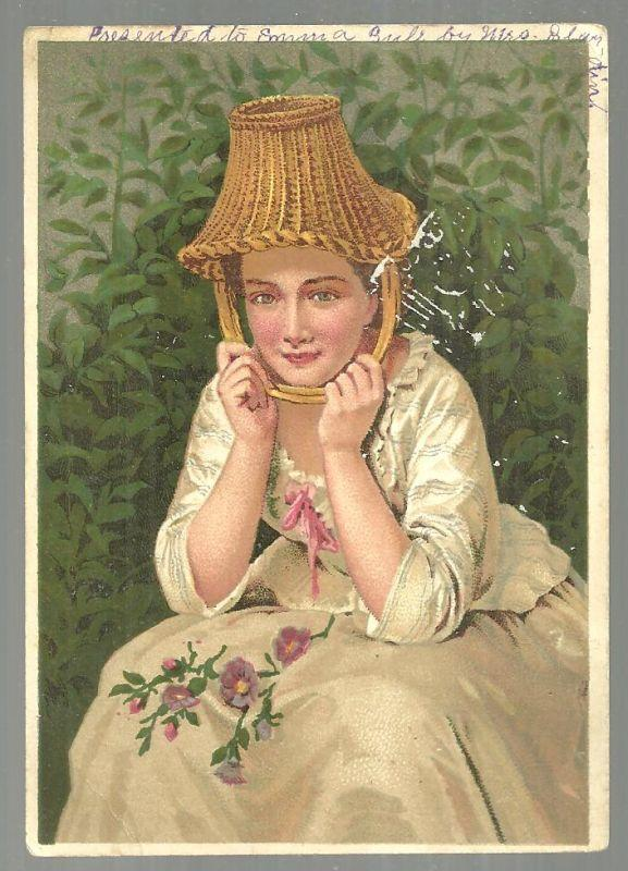 Victorian Trade Card for Dr. Jayne's Vermifuge With Lovely Lady With Basket Hat