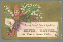Victorian Trade Card for Betts, Hatter Young Gent's Hats With Flowers