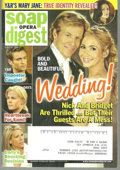 Soap Opera Digest Magazine June 30, 2009 Bold and Beautiful Wedding on Cover