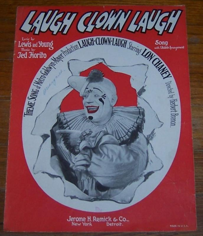 Laugh Clown Laugh From the Movie Starring Lon Chaney 1928 Sheet Music