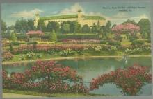 Jumbo Postcard of Hershey Rose Garden and Hotel Hershey, Hershey, Pennsylvania