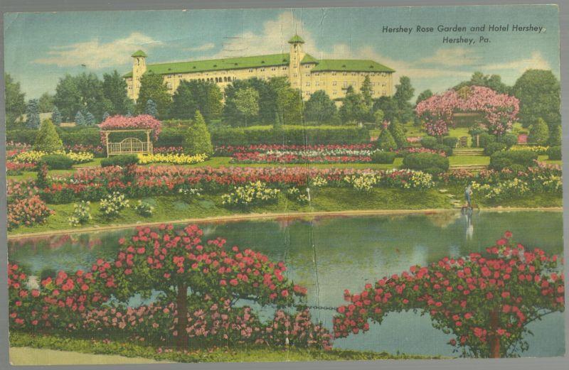 Jumbo Postcard of Hershey Rose Garden and Hotel Hershey, Hershey, Pennsylvania