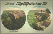 Jumbo Postcard of Lover's Leap Before and After On Rock City Gardens Tennessee