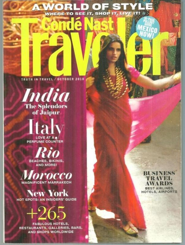 Conde Nast Traveler Magazine October 2010  Medina, Rio, India, New York City