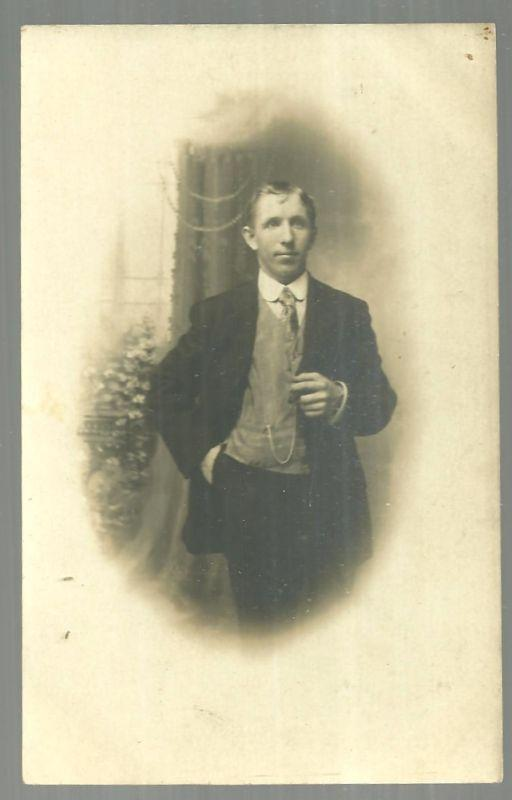 Vintage Unused Real Photo Postcard of Young Man in Suit