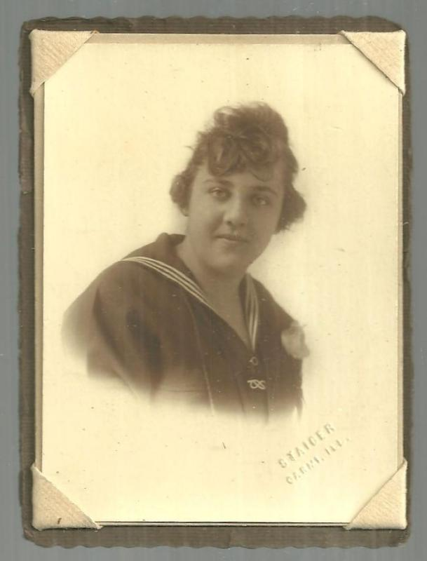 Framed Mounted Photograph of Young Lady in Sailor Suit, Staiger, Carmi, Illinois