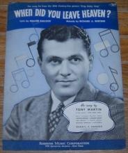 When Did You Leave Heaven Sung by Tony Martin in Sing, Baby, Sing 1936 Music