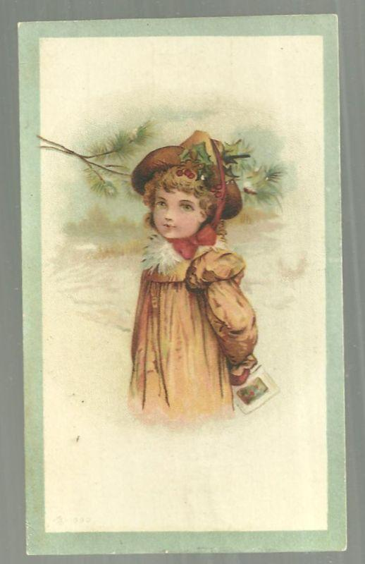 Victorian Trade Card for White Elephant Garments Young Girl Dressed Christmas