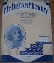 My Dream Memory From Street Girl 1929 Sheet Music