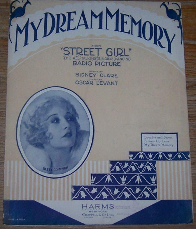 My Dream Memory From Street Girl 1929 Sheet Music
