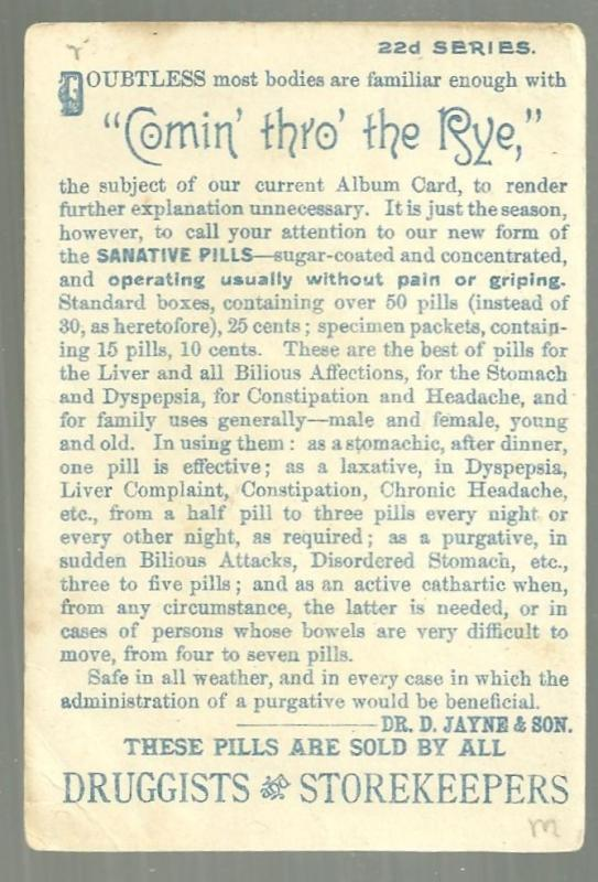 Victorian Trade Card for Dr. D. Jayne's Sanative Pills Couple Comin' Thro' Rye