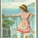 Victorian Trade Card for Lautz Bros. Soaps With Young Girl on Italian Balcony