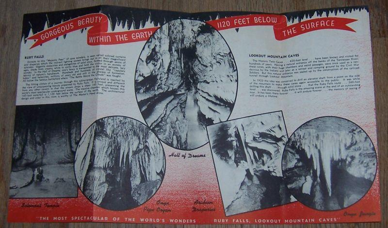 Vintage 1950s Souvenir Brochure for Ruby Falls, Chattanooga, Tennessee