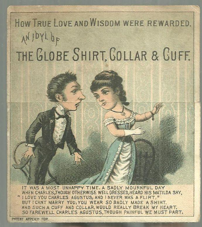 Victorian MetamorphicTrade Card for Globe Shirt, Collar and Cuff With Couple