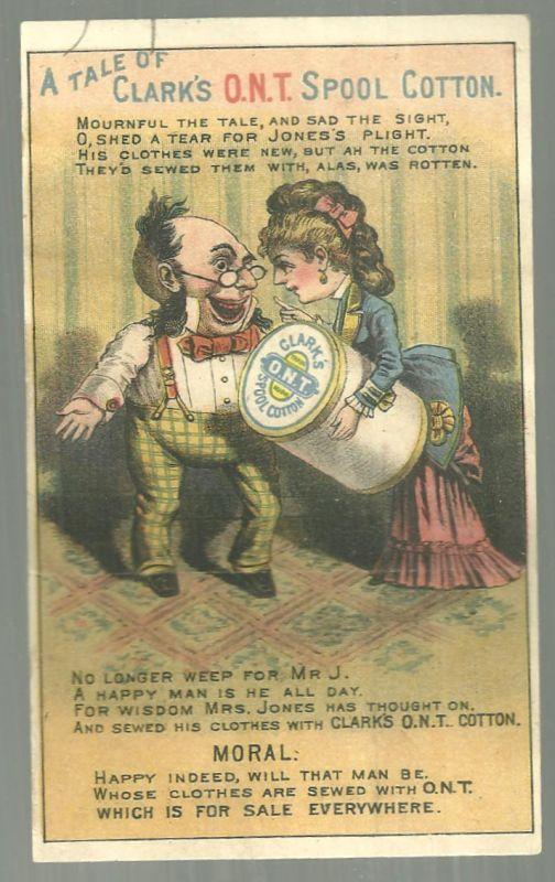 Victorian MetamorphicTrade Card for Clark's O. N. T. Spool Cotton with Couple
