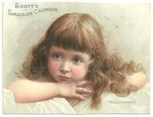 Victorian Trade Card for Scott's Emulsion Calendar with Lovely Girl Meditation