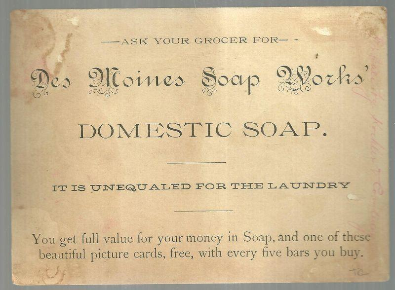 Victorian Trade Card For Des Moines Domestic Soap with Moonlight Ruin