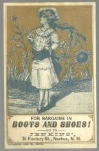 Victorian Trade Card for Jenkins' Boots and Shoes with Lovely Lady and Sunflower