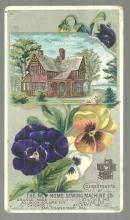 Victorian Trade Card for New Home Sewing Machine with Pansies and A New Home