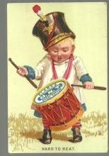 Victorian Trade Card for Clark's Spool Cotton with Boy Banging a Drum