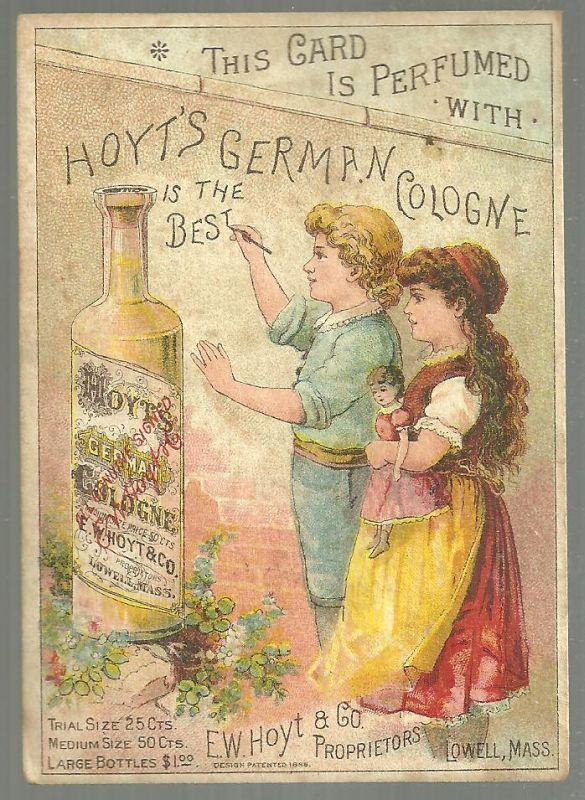 Victorian Trade Card Perfumed with Hoyt's German Cologne with Two Children