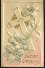 Easter Greetings Postcard with Puffy Cross and Flowers