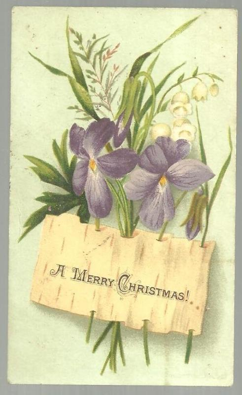 Victorian Merry Christmas Card with Violets and Lily of the Valley