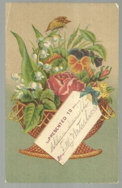 Victorian Reward of Merit with Large Bouquet of Flowers and Names