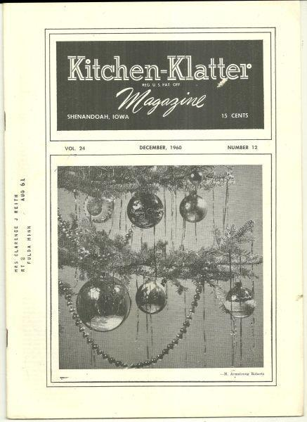 Kitchen Klatter Magazine December 1960 Holiday Recipes/Christmas 100 Years Ago