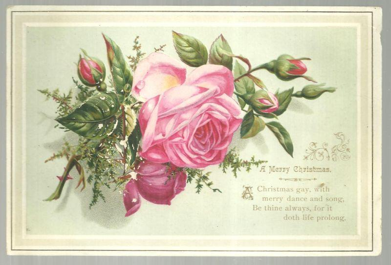 Victorian Merry Christmas Card with Pink Rose