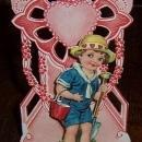 Victorian German Fold Out Valentine Little Boy Dressed for the Beach with Shovel