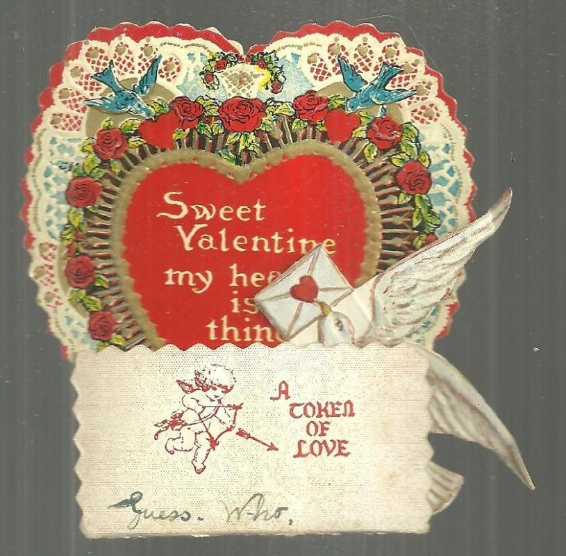 Victorian Fold Out Valentine with Dove and Red Honeycomb A Token of Love