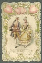Vintage Valentine Card Eighteenth Century Couple and Hearts With Fondest Love