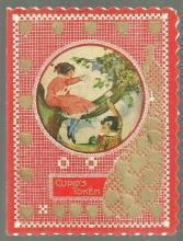 Vintage Valentine Card with Little Boy and Little Girl Playing in Tree