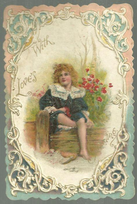 Vintage Valentine Card with Little Boy Sitting at Beach With Love's Greetings