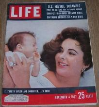 Life Magazine November 4, 1957  Elizabeth Taylor and Daughter Liza Todd on cover
