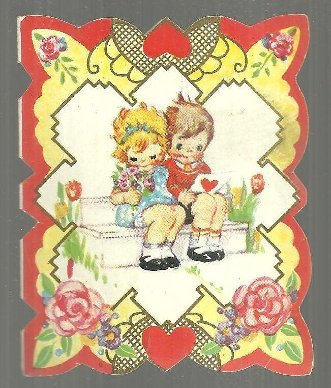 Vintage Valentine Card with with Little Boy and Little Girl Sitting on a Bench