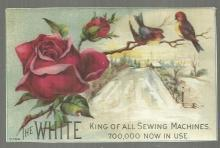 Victorian Trade Card for White Sewing Machine with Roses and Winter Scene