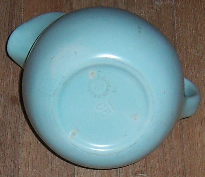 Vintage Franciscan Ware Pottery Pastel Blue Ball Water Pitcher with Ice Lip