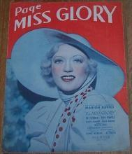 Page Miss Glory Starring Marion Davies with Pat O'Brien 1935 Sheet Music