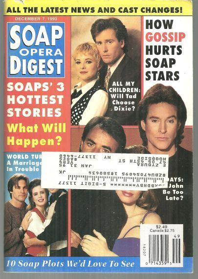 Soap Opera Digest Magazine December 7, 1993 Soaps' Three Hottest Stories Cover