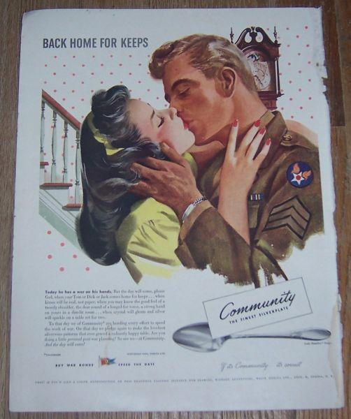 1943 World War II Community Silverplate Life Magazine Advertisement