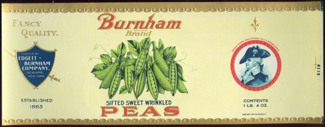 Burnham Brand Sifted Sweet Wrinkled Peas Can Label