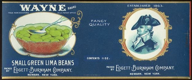Wayne Brand Small Green Lima Beans Can Label