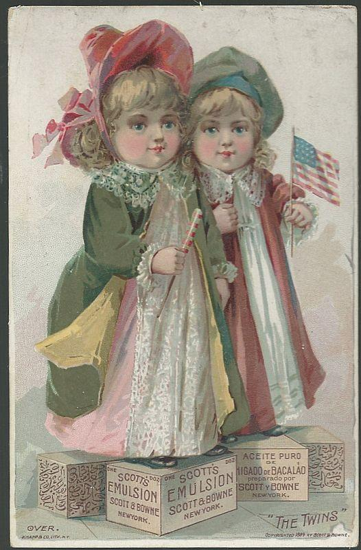 Victorian Trade Card for Scott's Emulsion, with the Twins with American Flags