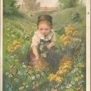 Victorian Trade Card for Edwin C. Burt Fine Shoes with Girl Picking Flowers